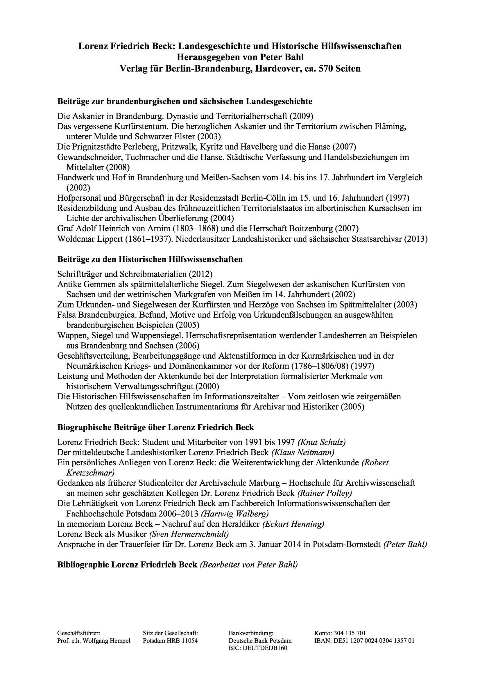 Inhaltsverzeichnis Fs. Beck